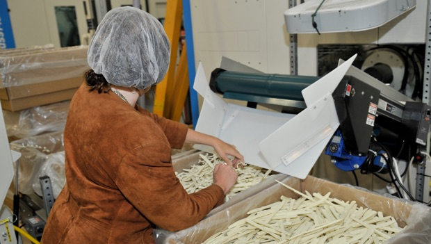 LCI employee wearing a hairnet, assembling the plastic cutlery