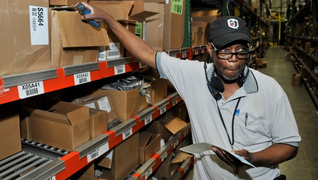 LCI employee working in the distribution warehouse