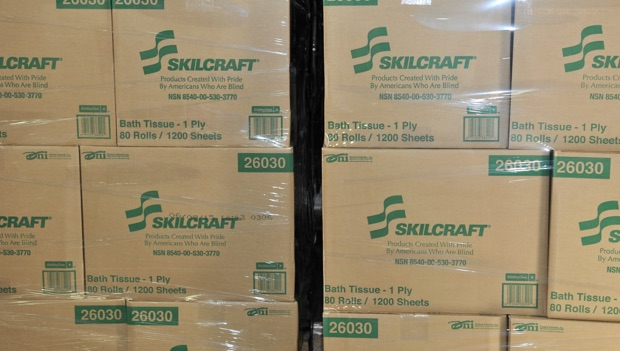 cardboard boxes with the name Skilcraft